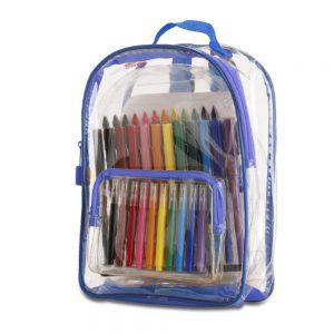 מיגוון – תיק גב לילדים מPVC שקוף כולל טושים, עפרונות, צבעי פנדה וחוברת צביעה