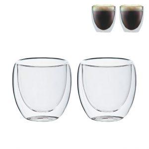 רומא- זוג כוסות זכוכית עם דופן