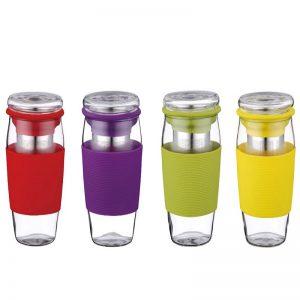 סט 3 כוסות מעוצבות לתה עם מחזיקי סיליקון איכותיים PH-10038 PETERHOF.