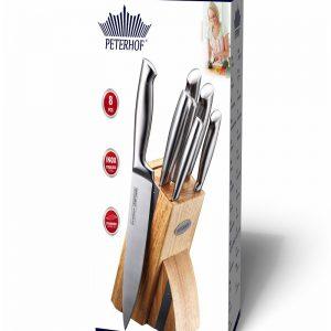 סט סכינים מקצועיות עם סטנד דקורטיבי מעץ מבריק PH-22365 PETERHOF.